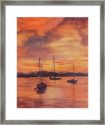 Framed Print featuring the painting Sailboats In The Sunset by Pauline  Kretler