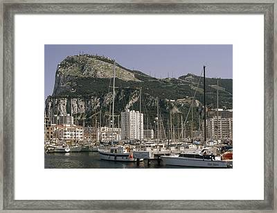 Sailboats Moored In Gibraltar Bay Framed Print by Lynn Abercrombie