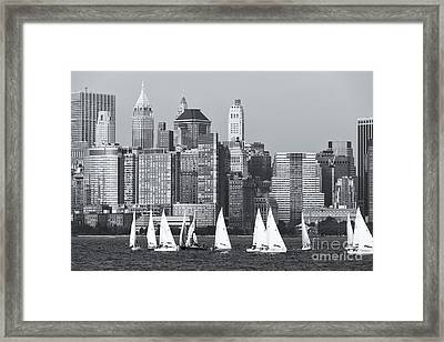 Sailboats On The Hudson V Framed Print by Clarence Holmes