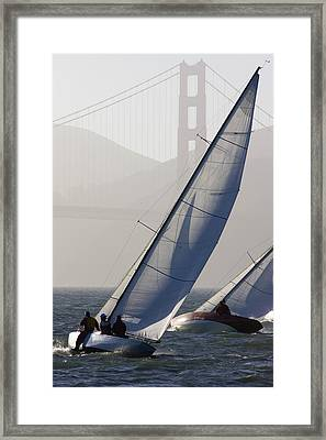 Sailboats Race On San Francisco Bay Framed Print by Skip Brown