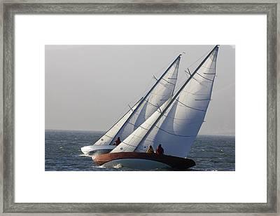 Sailboats Race Upwind In San Francisco Framed Print