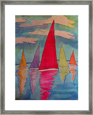 Sailboats Framed Print by Yvonne Feavearyear