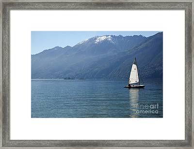 Sailing Boat And Mountain Framed Print by Mats Silvan