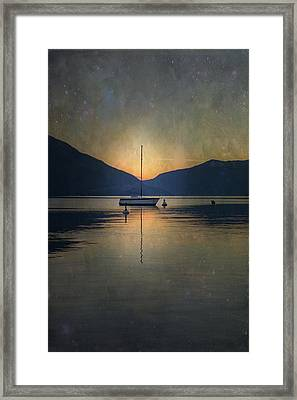 Sailing Boat At Night Framed Print by Joana Kruse