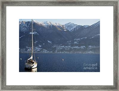 Sailing Boat On A Lake Framed Print by Mats Silvan