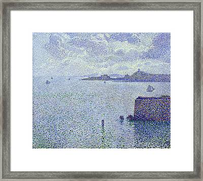 Sailing Boats In An Estuary Framed Print by Theo van Rysselberghe