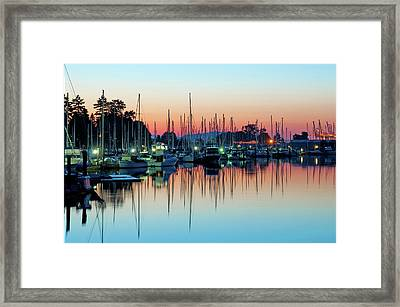 Sailing Boats In Coal Harbour Framed Print by Dean Bouchard (Being There Photography)