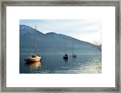 Sailing Boats On An Alpine Lake Framed Print by Mats Silvan