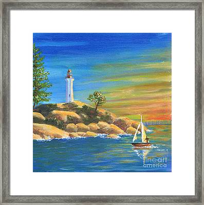 Sailing By Framed Print by Helen Winter