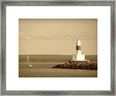 Framed Print featuring the photograph Sailing By The Marquette Presque Isle Lighthouse by Mark J Seefeldt