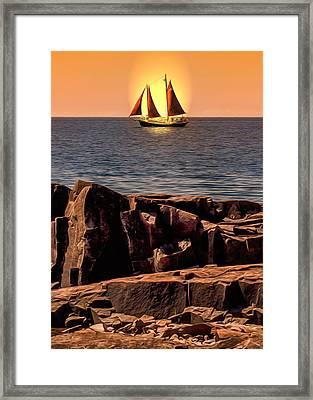 Sailing In Grand Marais Framed Print by Bill Tiepelman
