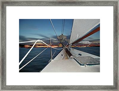 Sailing In The Bay Framed Print by Jim and Kim Shivers