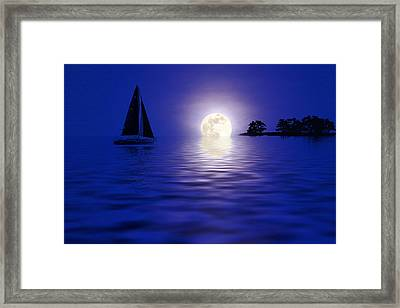 Sailing Into The Moonlight Framed Print by Cindy Haggerty