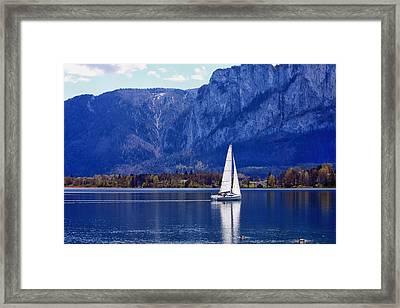 Sailing On Mondsee Lake Framed Print by Lauri Novak