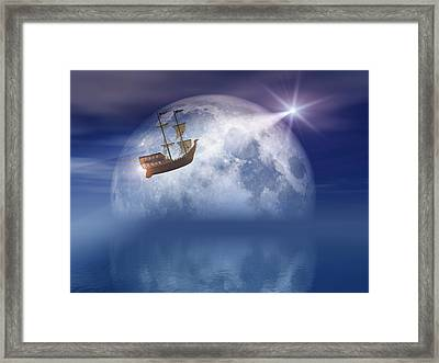 Sailing On Star Light And Night Moon Over Sea Framed Print