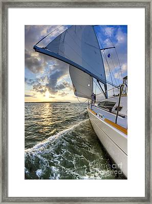 Sailing On The North Edisto Inlet During Sunset Beneteau 49 Fate Framed Print by Dustin K Ryan