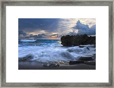 Sailing On The Silk Blue Sea Framed Print by Debra and Dave Vanderlaan