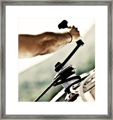 Sailor Pulling Ropes Framed Print by Anna Om