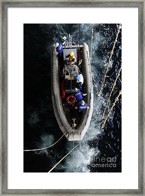 Sailors Conduct A Man Overboard Drill Framed Print