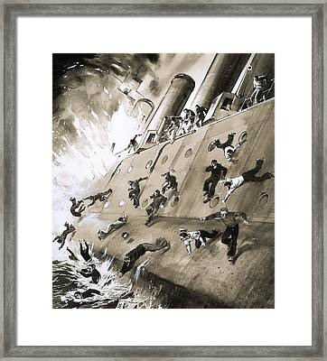 Sailors Escaping Hms Natal Which Caught Fire In Cromerty Firth In 1915 Framed Print by English School
