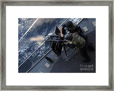 Sailors Fire A Dual-mounted M240 Framed Print by Stocktrek Images