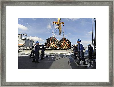 Sailors Help Guide A Pair Of Incoming Framed Print