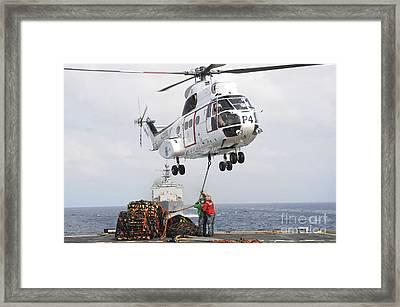 Sailors Hook Up A Pole Pendant Framed Print