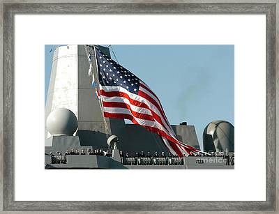 Sailors Man The Rails Of The Amphibious Framed Print by Stocktrek Images
