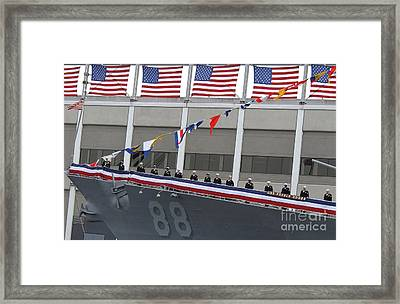 Sailors Man The Rails On The Guided Framed Print by Stocktrek Images