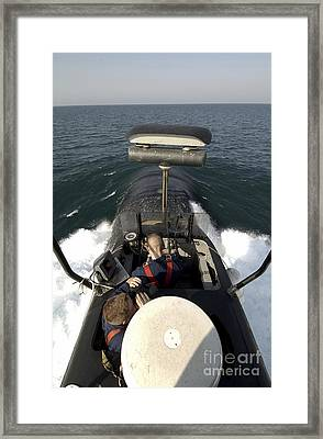 Sailors Stand Watch From The Bridge Framed Print