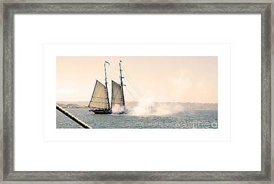 Sails And Cannons Framed Print by MaryJane Armstrong