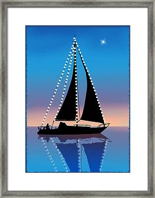 Sails At Sunset Silhouette With Xmas Lights  Framed Print