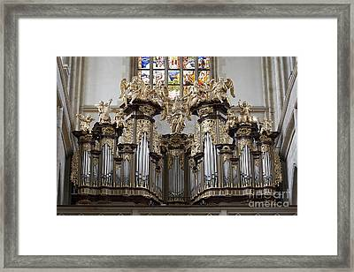 Saint Barbara Church - Organ Loft And Stained Glass In The Churc Framed Print by Michal Boubin
