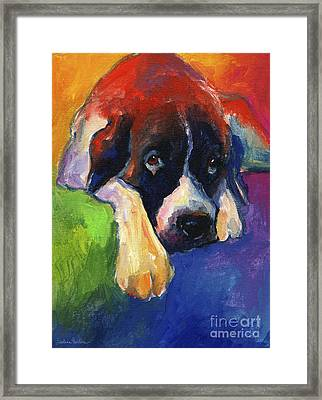 Saint Bernard Dog Colorful Portrait Painting Print Framed Print by Svetlana Novikova