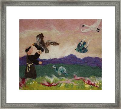 Saint Francis And The Birds Framed Print by Nicole Besack