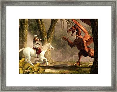 Saint George And The Dragon Framed Print by Daniel Eskridge