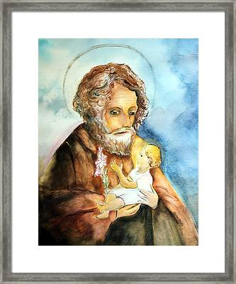 Saint Joseph And Child Framed Print by Myrna Migala