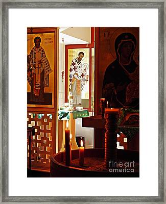 Saints And Candles Framed Print by Sarah Loft