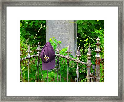 Framed Print featuring the photograph Saints Hat On Iron Fence by Jeanne  Woods