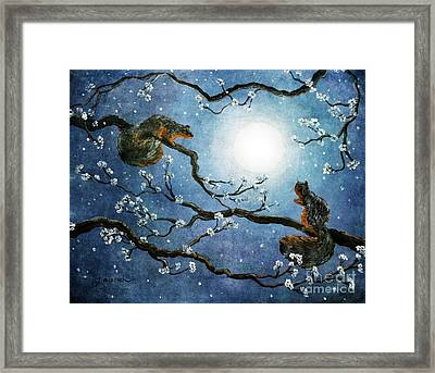 Sakura Squirrels Framed Print by Laura Iverson