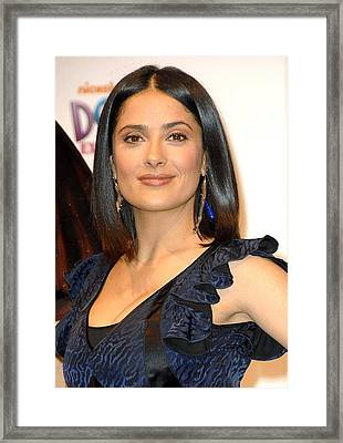 Salma Hayek At A Public Appearance Framed Print