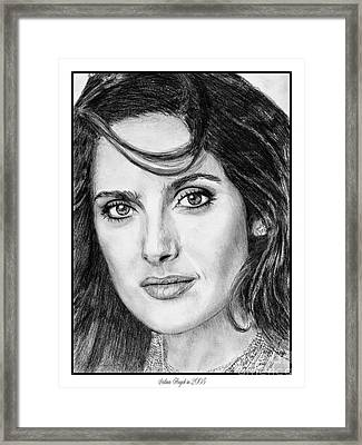 Framed Print featuring the drawing Salma Hayek In 2005 by J McCombie