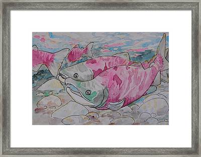 Framed Print featuring the painting Salmon Spawn by Jenn Cunningham