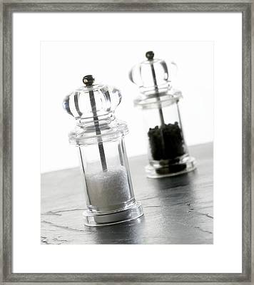 Salt And Pepper Mills Framed Print by Mark Sykes