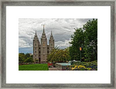 Salt Lake City Temple Grounds Framed Print by La Rae  Roberts