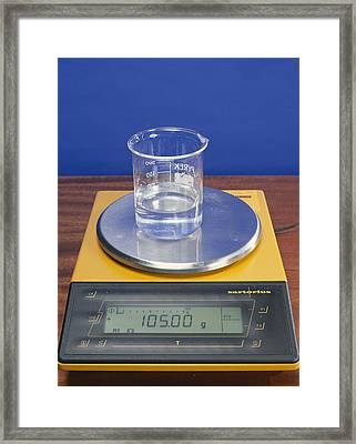 Salt Solution On Scales Framed Print by Andrew Lambert Photography