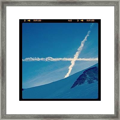 #saltire #blue #sky #clouds #france Framed Print