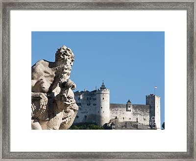 Salzburg Castle Seen From Mirabell Palace Gardens Framed Print
