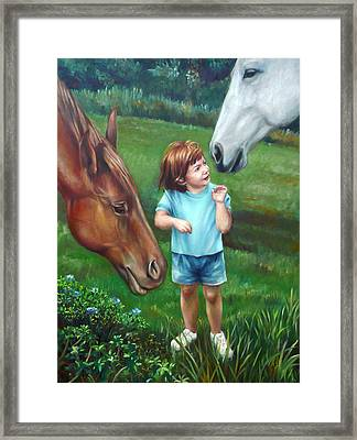 Framed Print featuring the painting Samantha Becomes An Equestrian by Nancy Tilles