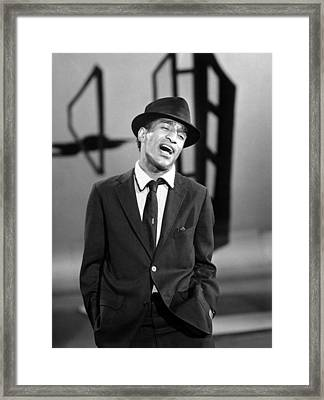 Sammy Davis Jr. Singing In A Television Framed Print by Everett